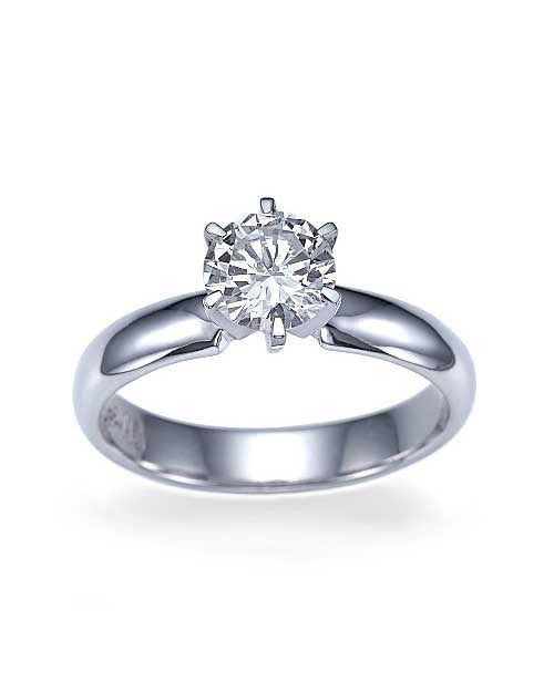 Engagement Rings Platinum Wide Band 6 Prong Round Engagement Ring - 1ct Diamond