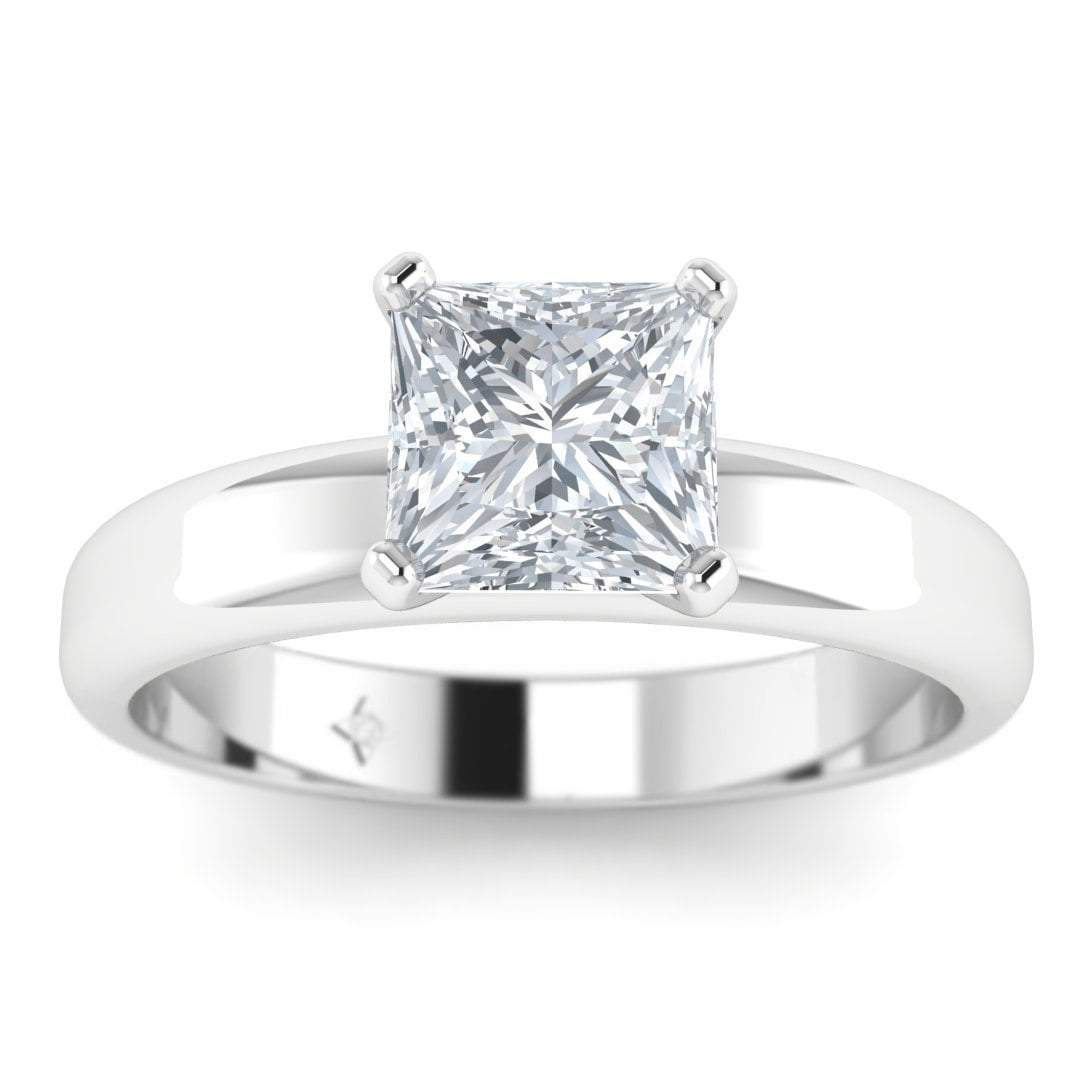 Platinum 050 Ct Dsi1 Princess Cut Diamond Engagement Ring Wide Band 6prong Solitaire: Women Wedding Rings Wide Band Solitaire At Reisefeber.org