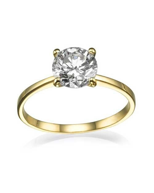 Preset Round Cut Engagement Rings in Yellow Gold with 1.10ct D/VS2 Diamond - Custom Made
