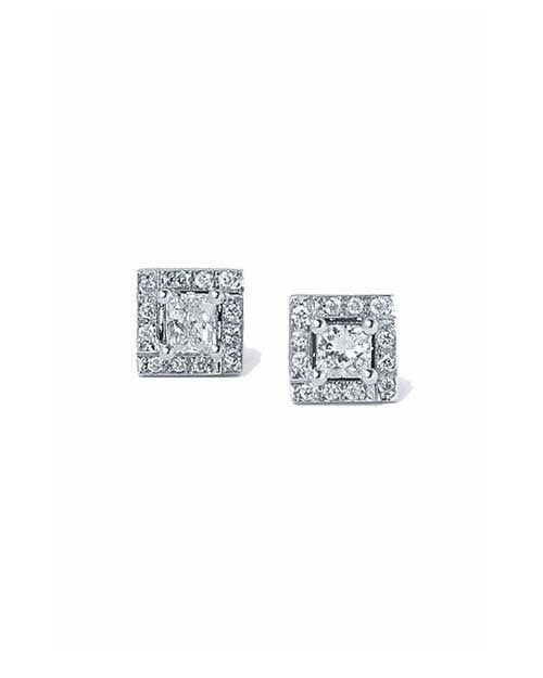 Earrings Princess Cut Diamond Earrings, Halo Style in White Gold - 0.60 carat