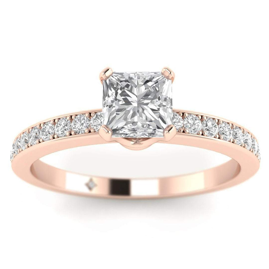 EN Princess Cut Diamond Engagement Ring in Rose Gold with French Pave Accents