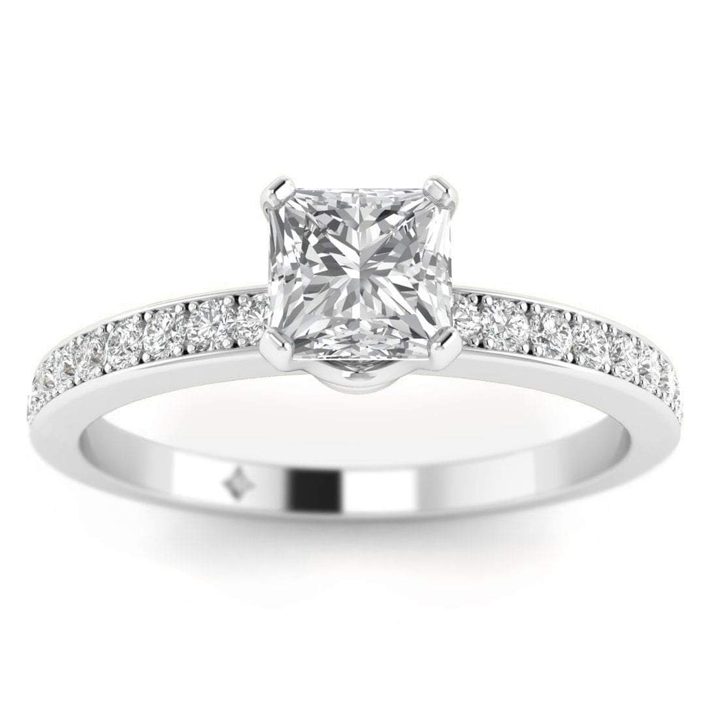 Princess Cut Diamond Engagement Ring in White Gold with French Pave Accents - Custom Made