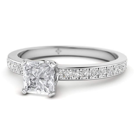 EN Princess Cut Diamond Engagement Ring in White Gold with French Pave Accents