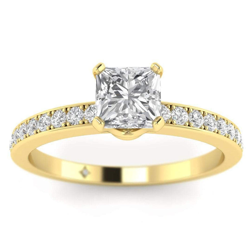 Princess Cut Diamond Engagement Ring in Yellow Gold with French Pave Accents - Custom Made
