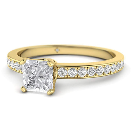 EN Princess Cut Diamond Engagement Ring in Yellow Gold with French Pave Accents
