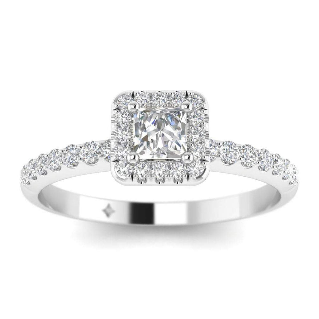 EN-WA-14-NAT-D-SI1-EX Princess Cut Diamond Halo Engagement Ring in 14K White Gold - 0.15 carat