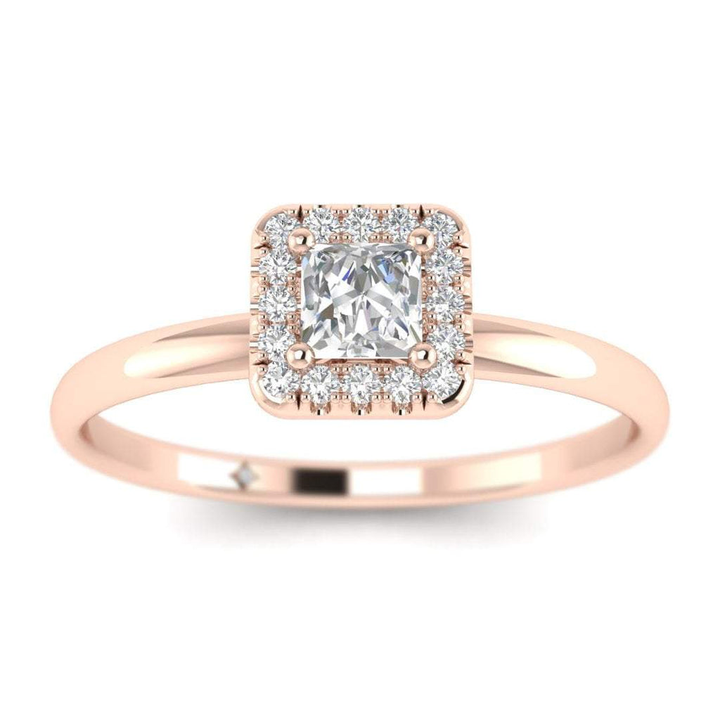 Princess Cut Diamond Halo Engagement Ring in Rose Gold - Custom Made