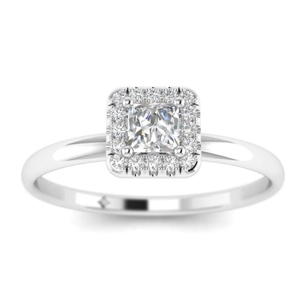 Princess Cut Diamond Halo Engagement Ring in White Gold - Custom Made
