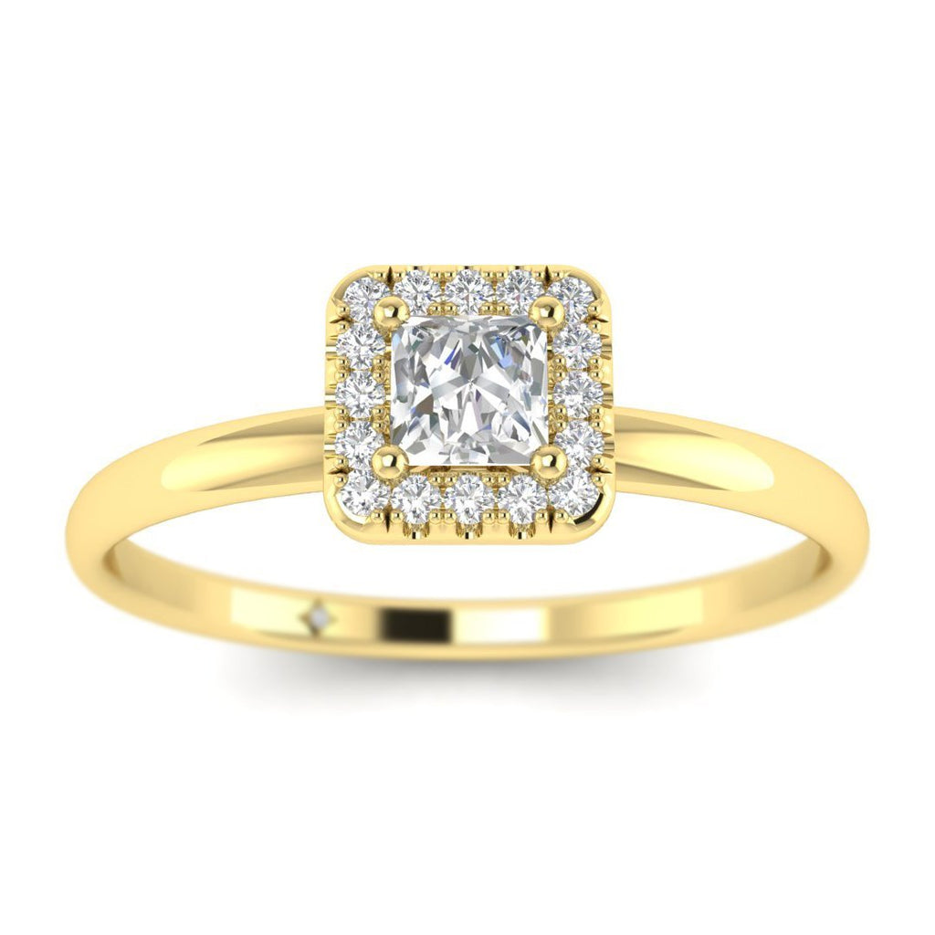 Princess Cut Diamond Halo Engagement Ring in Yellow Gold - Custom Made
