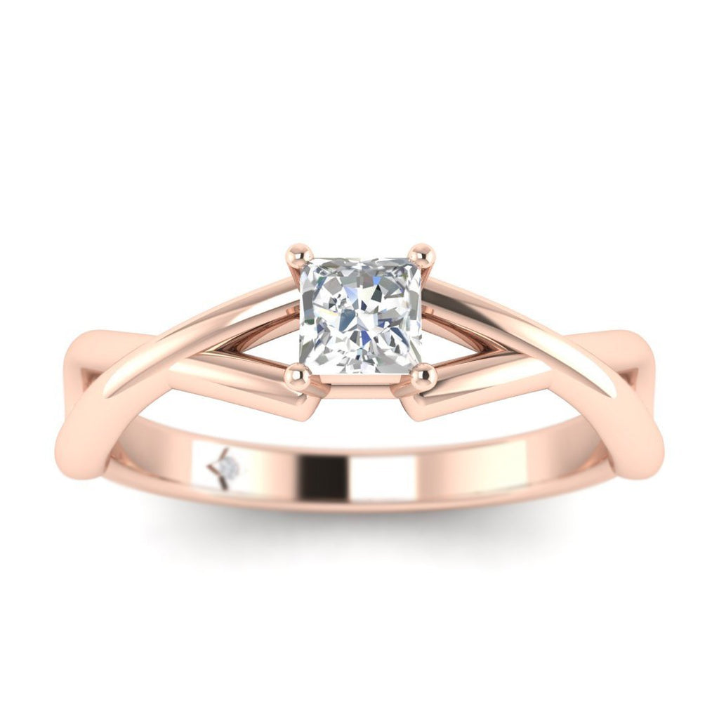 Princess Cut Diamond Infinity Twist Solitaire Engagement Ring in Rose Gold - Custom Made