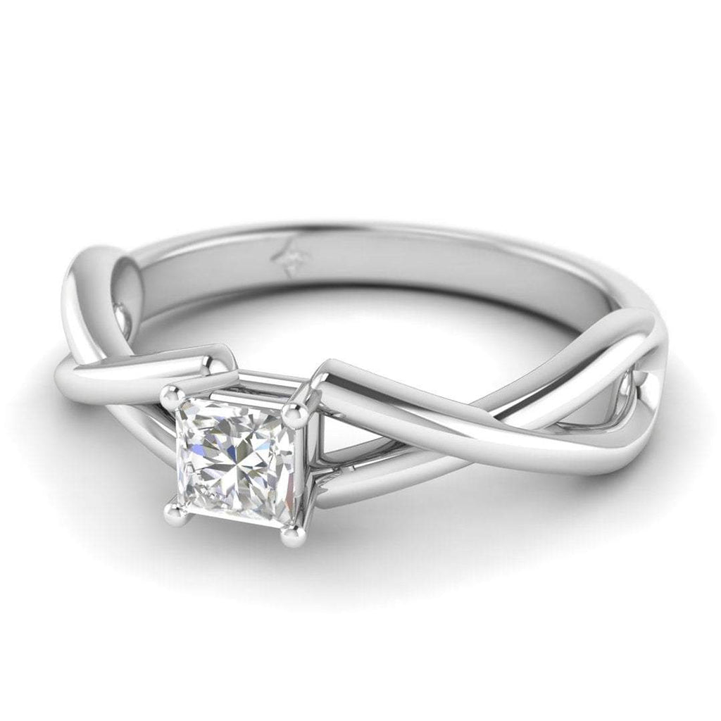 Princess Cut Diamond Infinity Twist Solitaire Engagement Ring in White Gold - Custom Made
