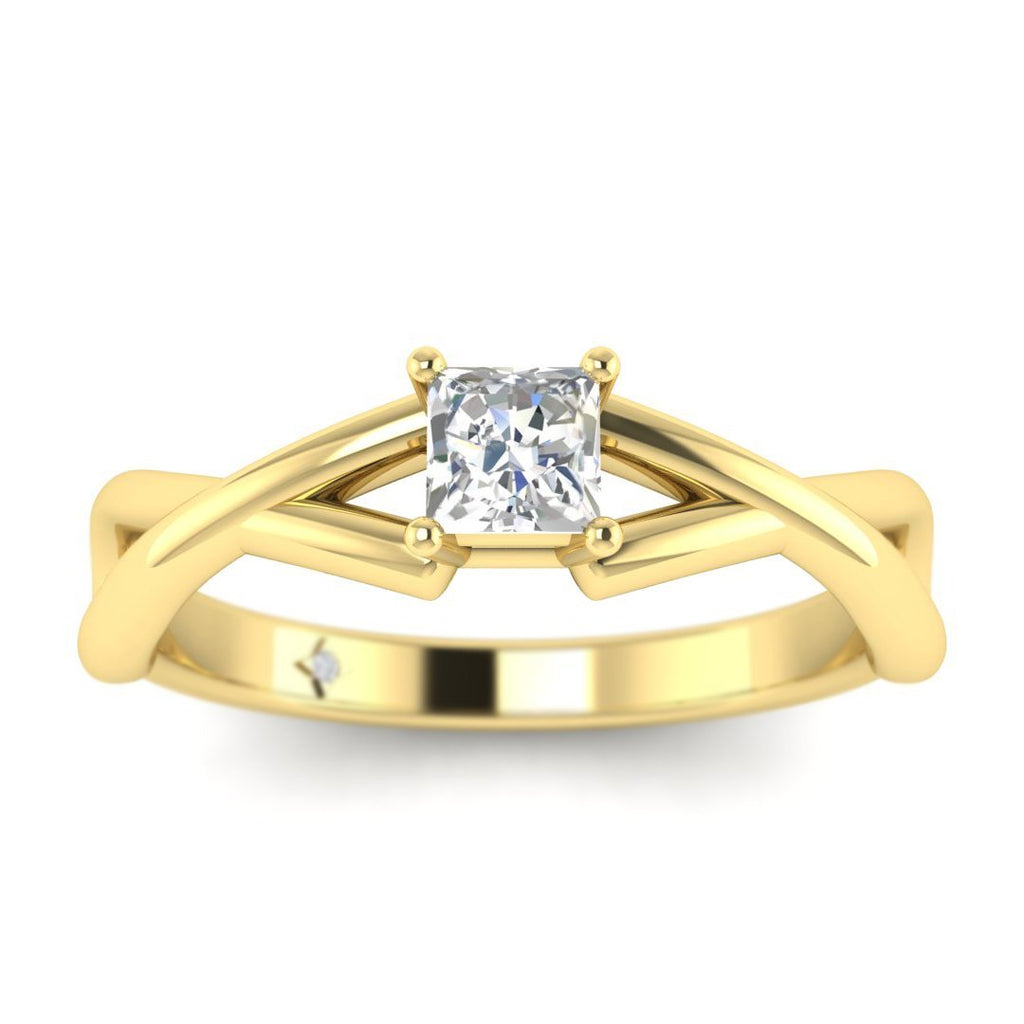 Princess Cut Diamond Infinity Twist Solitaire Engagement Ring in Yellow Gold - Custom Made