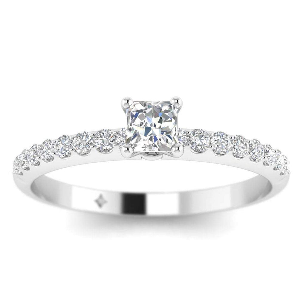 Princess Cut Diamond Pave Engagement Ring in 14K White Gold - 0.50 carat - Custom Made
