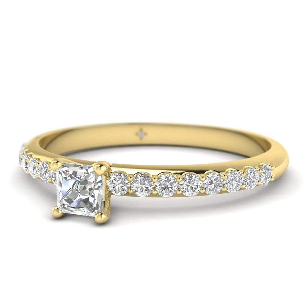 Princess Cut Diamond Pave Engagement Ring in 14K Yellow Gold - 0.40 carat - Custom Made