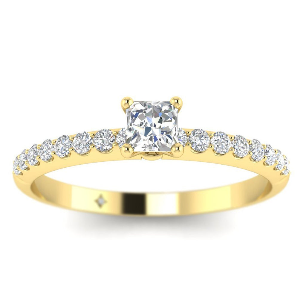 Princess Cut Diamond Pave Engagement Ring in Yellow Gold - Custom Made
