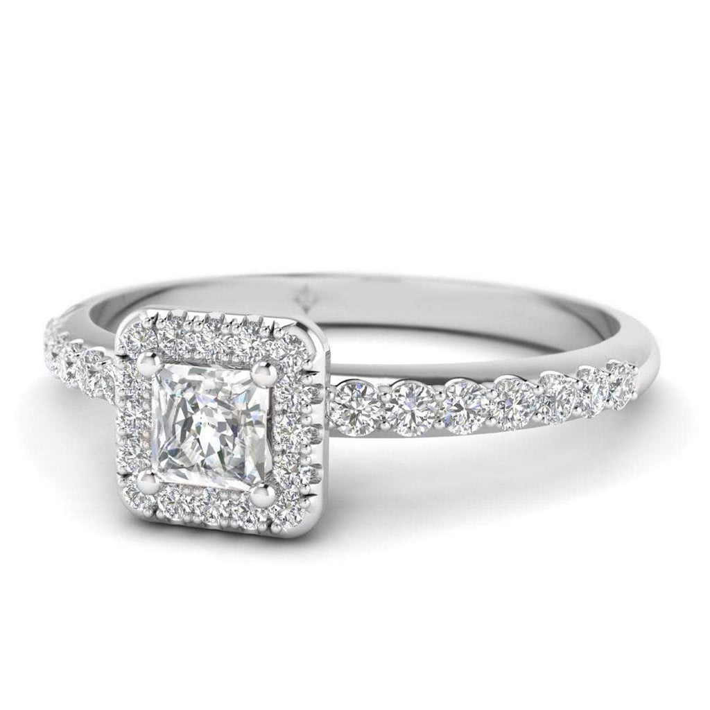 Princess Cut Diamond Pave Halo Engagement Ring in White Gold - Custom Made