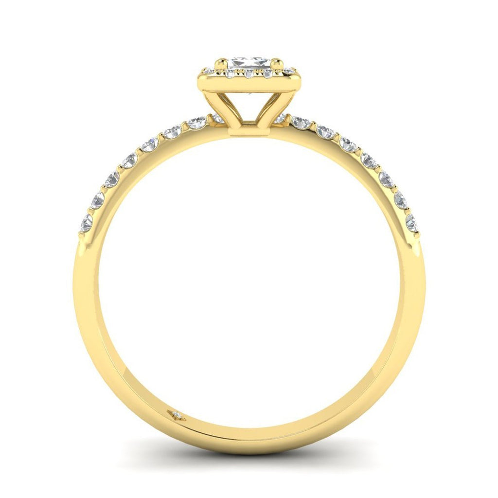 Princess Cut Diamond Pave Halo Engagement Ring in Yellow Gold - Custom Made