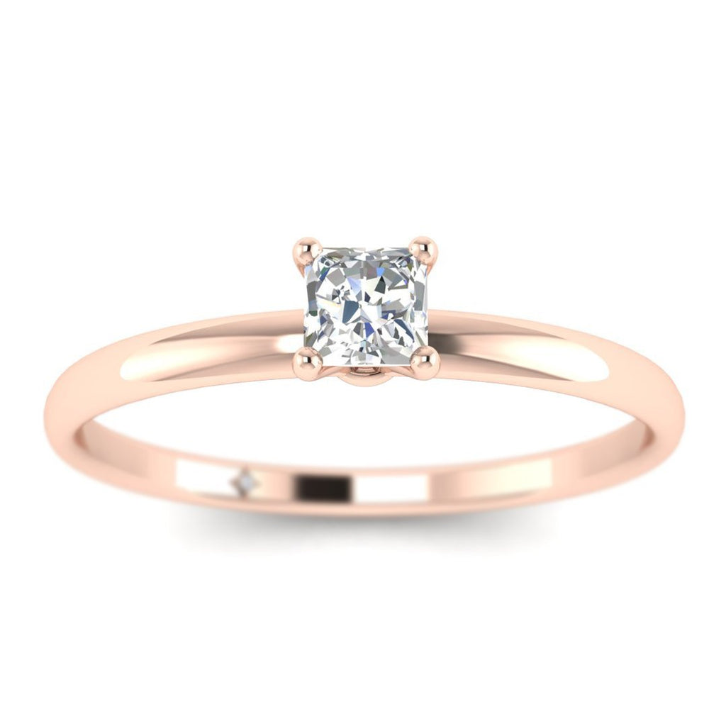 Princess Cut Diamond Solitaire Engagement Ring in Rose Gold - Custom Made