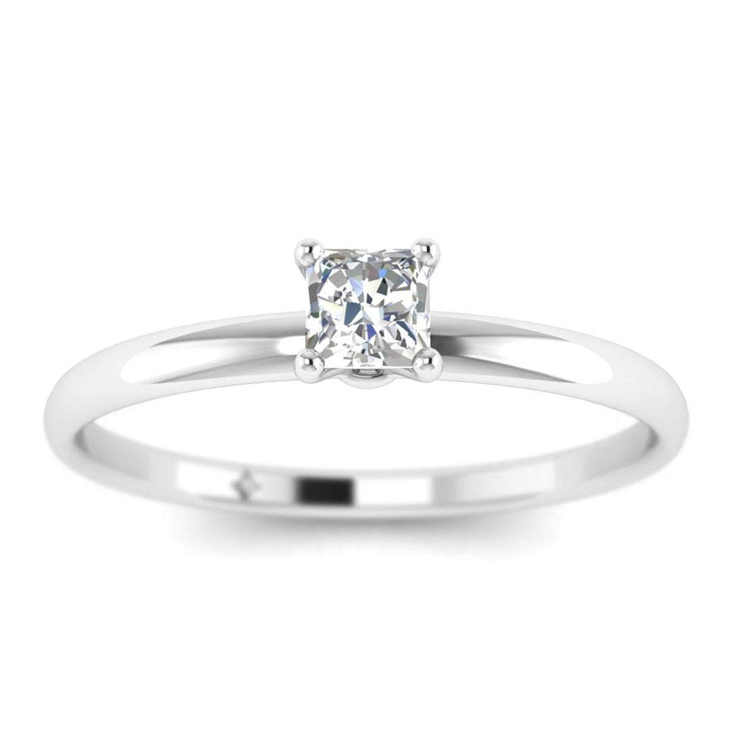Princess Cut Diamond Solitaire Engagement Ring in White Gold - Custom Made
