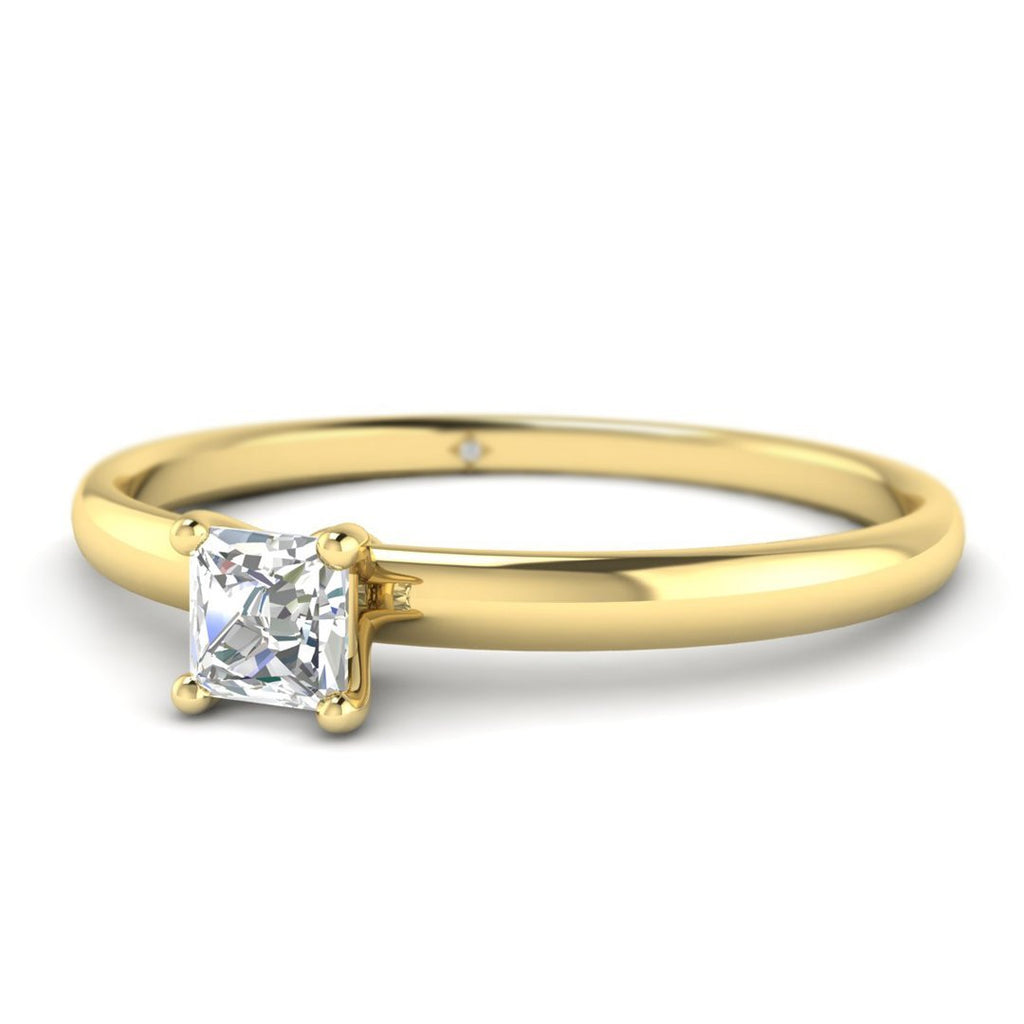 Princess Cut Diamond Solitaire Engagement Ring in Yellow Gold - Custom Made