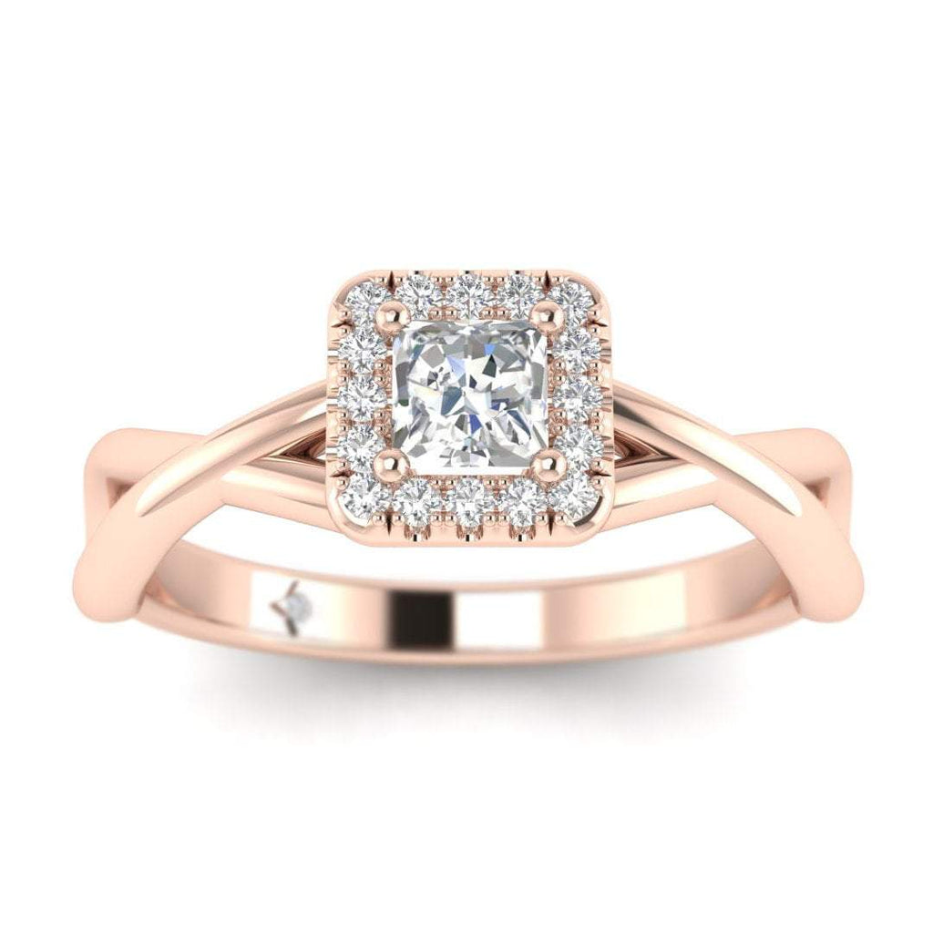 Princess Cut Diamond Twist Halo Engagement Ring in Rose Gold - Custom Made