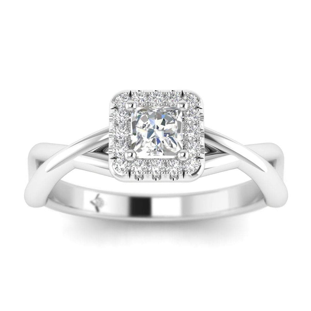 Princess Cut Diamond Twist Halo Engagement Ring in White Gold - Custom Made