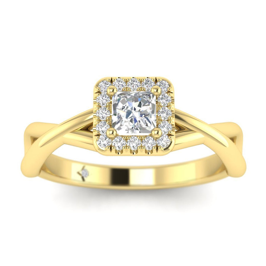 Princess Cut Diamond Twist Halo Engagement Ring in Yellow Gold - Custom Made
