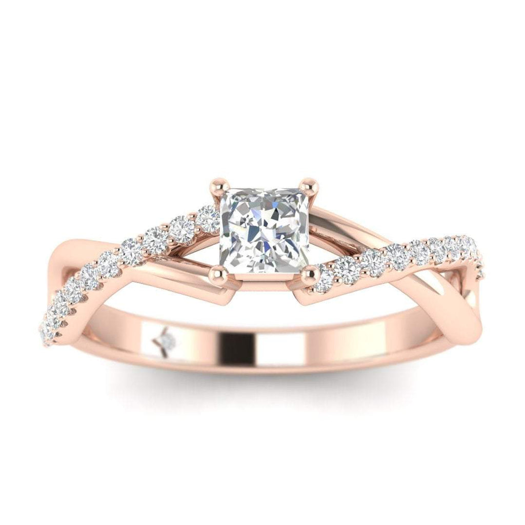 Princess Cut Diamond Twist Pave Engagement Ring in Rose Gold - Custom Made