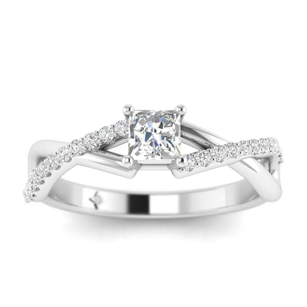 Princess Cut Diamond Twist Pave Engagement Ring in White Gold - Custom Made