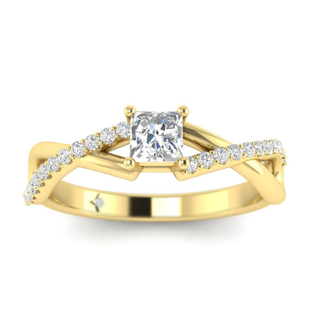 Princess Cut Diamond Twist Pave Engagement Ring in Yellow Gold - Custom Made