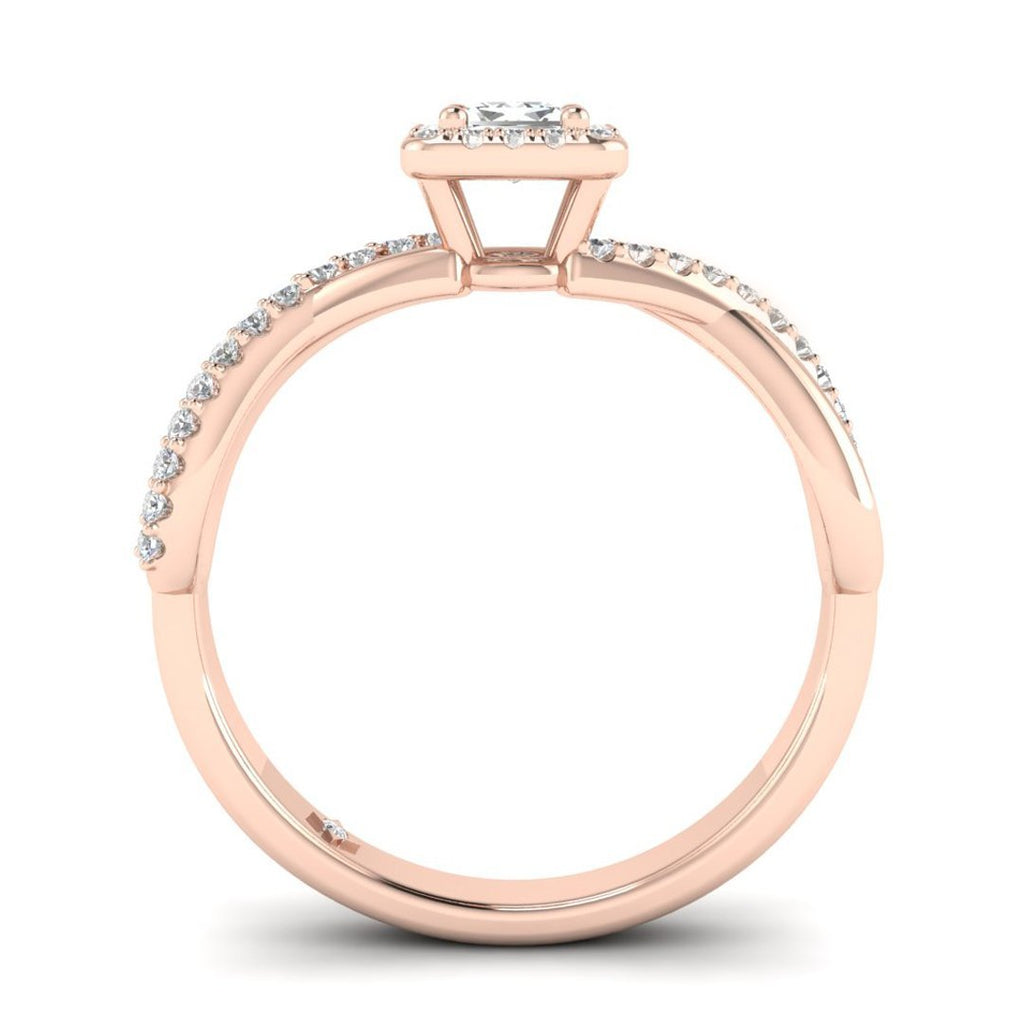 Princess Cut Diamond Twist Pave Halo Engagement Ring in Rose Gold - Custom Made