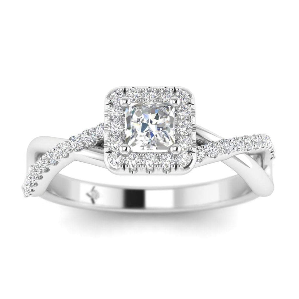 Princess Cut Diamond Twist Pave Halo Engagement Ring in White Gold - Custom Made