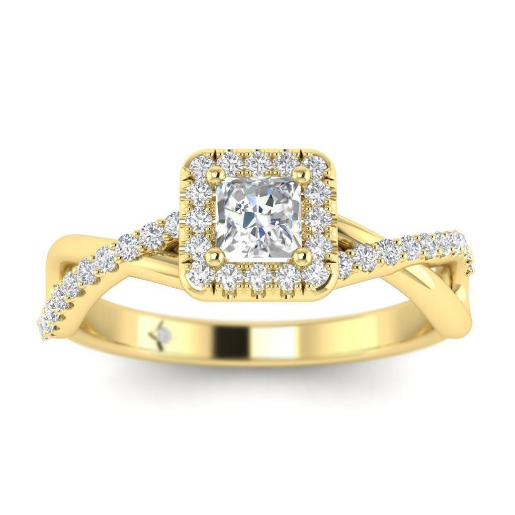 Princess Cut Diamond Twist Pave Halo Engagement Ring in Yellow Gold - Custom Made