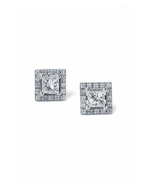 Earrings Princess Cut Halo 4-Prong Diamond Earrings in White Gold - 0.80 carat