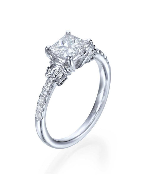 Engagement Rings Princess Cut Vintage Engagement Ring in White Gold or Platinum