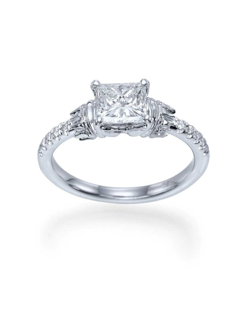Princess Cut Vintage Engagement Ring in White Gold or Platinum - Custom Made