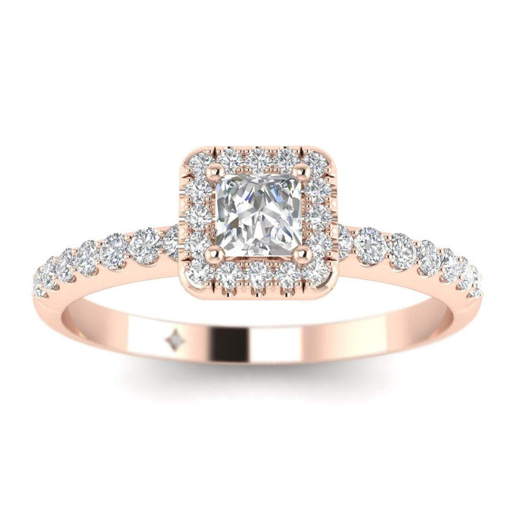 Princess Diamond Pave Halo Engagement Ring in Rose Gold - Custom Made
