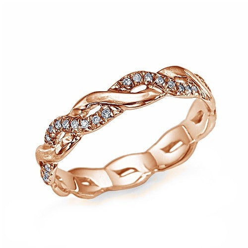 Rose Gold 0 17ct Diamond Infinity Wedding Ring by Shiree Odiz NY