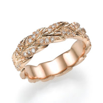 Wedding Rings Rose Gold 0.50ct Diamond Wedding Band - Golden Leaves Design