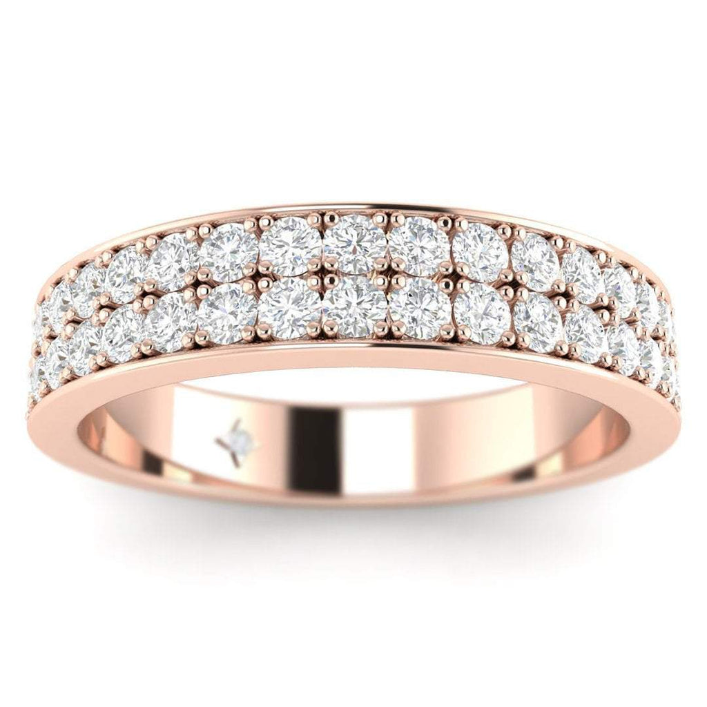 Rose Gold 2-Row Pave Set Diamond Eternity Band Ring - Custom Made