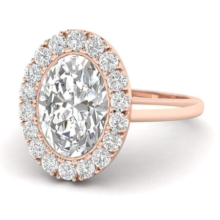 EN-WA-18-NAT-D-SI1-EX Rose Gold Bezel Set Halo  Oval Diamond Engagement Ring - 1.25 carat D/VS2 100% Natural