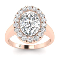 EN-WA-18-NAT-D-SI1-EX Rose Gold Bezel Set Halo  Oval Diamond Engagement Ring - 1.50 carat D/VS2 100% Natural