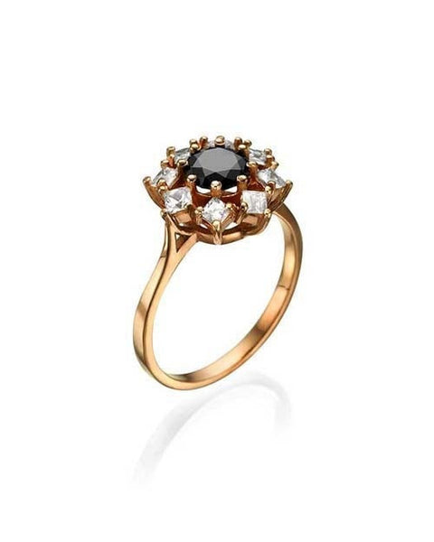 Mandala Rose Gold Black Diamond Engagement Ring, 1.80ctw Round and Princess
