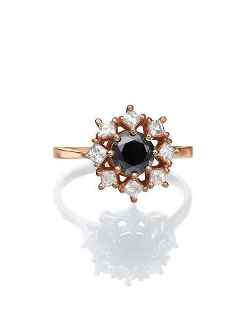 Rose Gold Black Diamond Engagement Ring, 1.80ctw Round and Princess - Custom Made