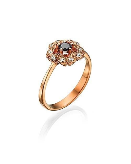 Rose Gold Black Diamond Ring with Vintage Milgrain Flower - Custom Made
