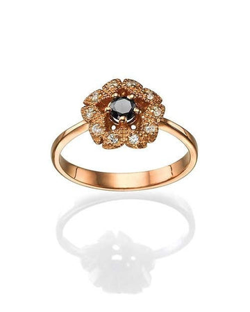 Mandala Rose Gold Black Diamond Ring with Vintage Milgrain Flower