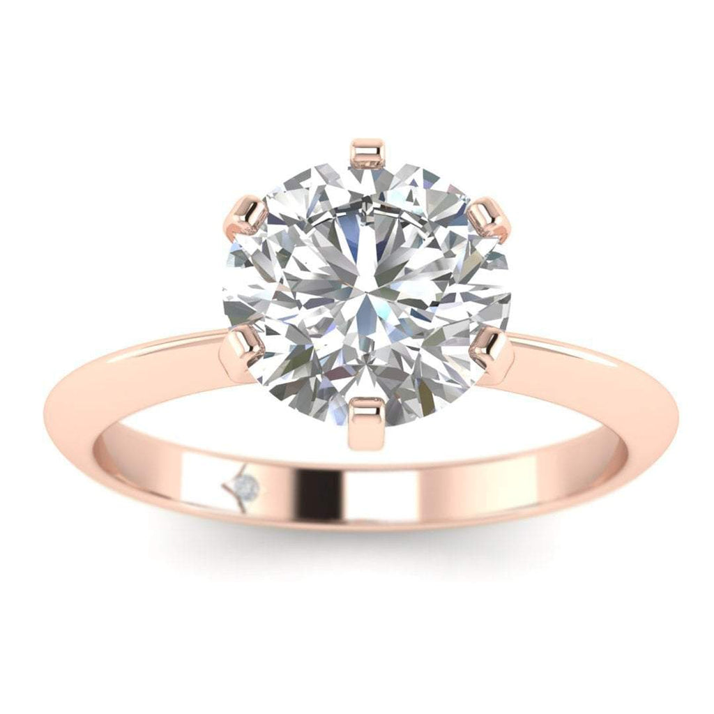 EN-SO-14-CE-F-SI2-EX Rose Gold Classic 6-prong Solitaire Round Diamond Engagement Ring - 0.70 carat F/SI2 Clarity Enhanced