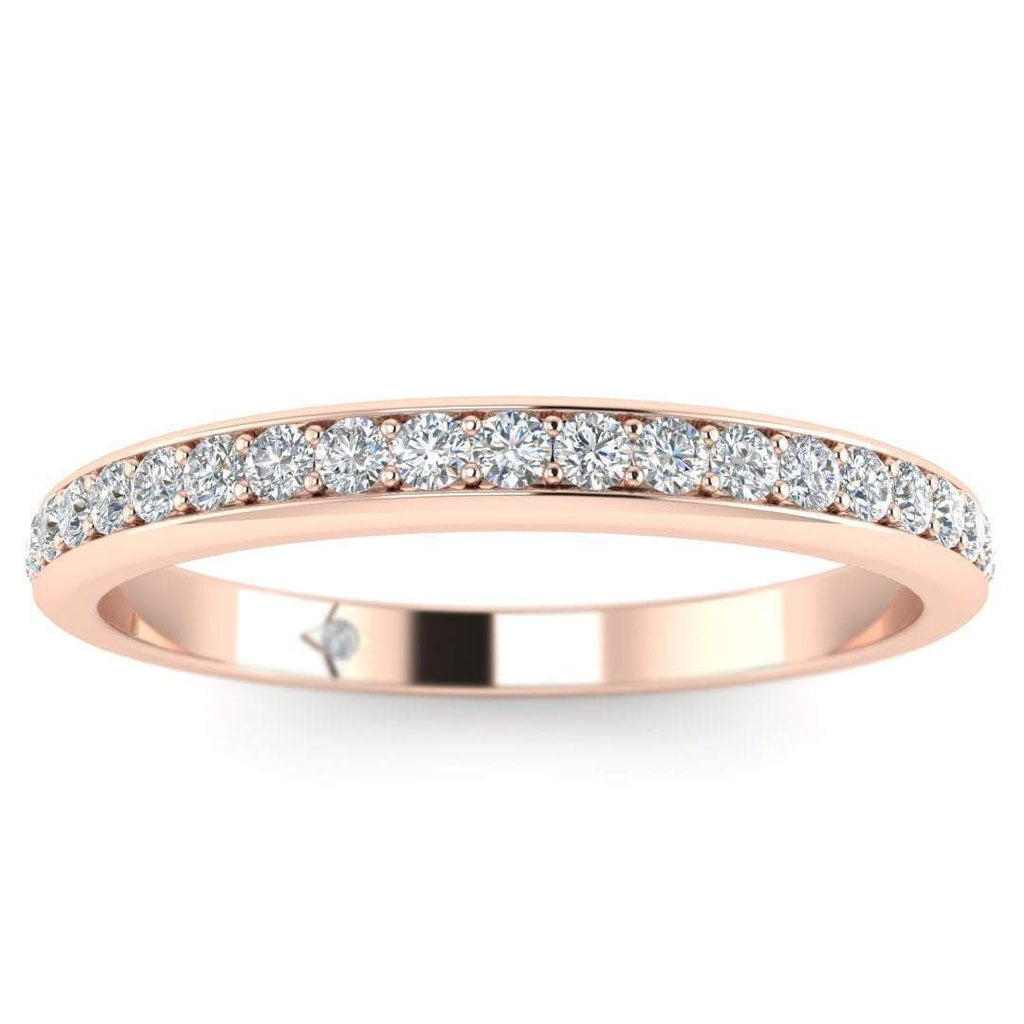 Rose Gold Classic Micro Pave Thin Diamond Eternity Band Ring - Custom Made