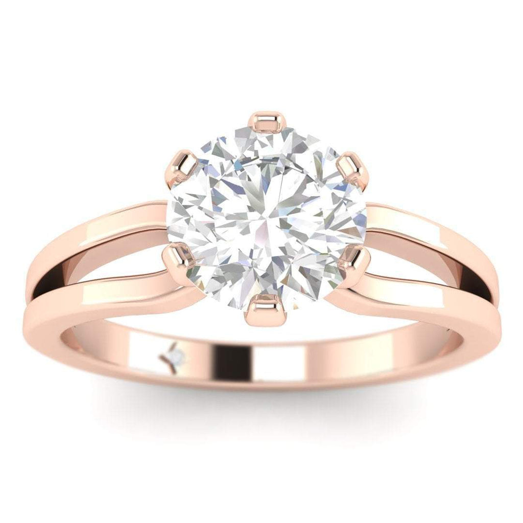 EN-SO-14-CE-D-SI1-EX Rose Gold Designer Split Shank 6-Prong Round Diamond Engagement Ring - 1.00 carat D/SI1 Clarity Enhanced