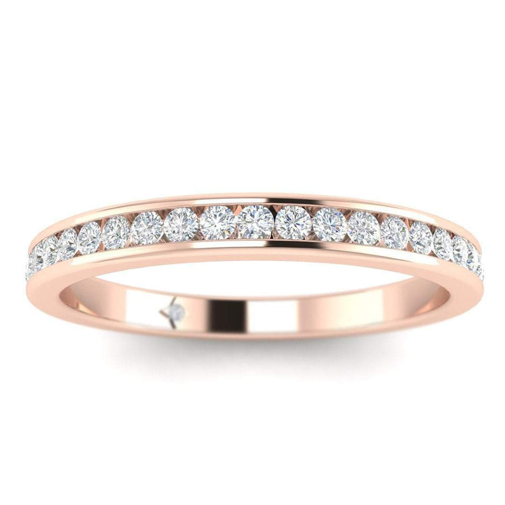 Rose Gold Flat Channel Set Diamond Eternity Band Ring - Custom Made